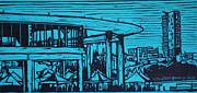 Linocut Linoluem Framed Prints - Long Center Framed Print by William Cauthern