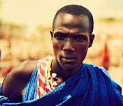 Apparel Posters - Maasai man portrait in Tanzania Poster by Michal Bednarek