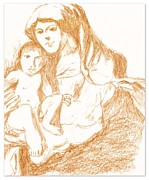 Religious Art Drawings - Madonna And Child by Michael Snincsak