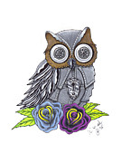 Industrial Drawings Metal Prints - Mechanical owl Metal Print by Brian Mako