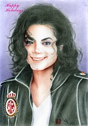 King Of Pop Prints - Michael Jackson Christmas Card Print by Eliza Lo