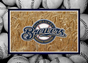 Baseball Bat Metal Prints - Milwaukee Brewers Metal Print by Joe Hamilton