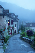 Midi Photo Framed Prints - Misty dawn in Saint Cirq Lapopie Framed Print by Brian Jannsen