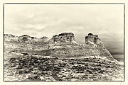 Sepia Chalk Framed Prints - Monument Rocks - Chalk Pyramids Framed Print by Bill Kesler