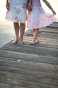 Caring Mother Posters - Mother And Daughter On A Wooden Board Walk Poster by Lee Avison