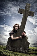 Gothic Crucifix Prints - Mourning Print by Joana Kruse