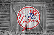 Baseball Glove Posters - New York Yankees Poster by Joe Hamilton