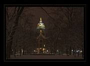 Fighting Irish Prints - Notre Dame Golden Dome Snow Poster Print by John Stephens