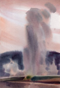 Yellowstone Paintings - Old Faithful by Donald Maier