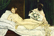 Images Of Woman Prints - Olympia Print by Edouard Manet