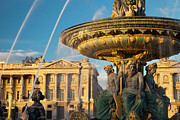 Place De La Concorde Posters - Paris Fountain Poster by Brian Jannsen