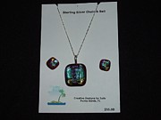 Featured Glass Art - Pendant and earrings by Judy Schnabel