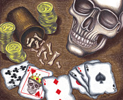 Coins Drawings Framed Prints - Pirate Poker Framed Print by Brian Mako