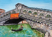 Gondola Mixed Media Framed Prints - Ponte di Rialto Framed Print by Loredana Messina