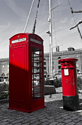 Mail Box Framed Prints - Post Box Phone box Framed Print by David Pyatt
