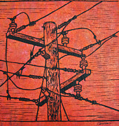 Block Print Drawings - Power Lines by William Cauthern