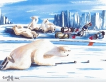 Polar Bears Paintings - 4 Putts And One More by Bob Patterson