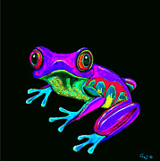 Amphibians Digital Art Metal Prints - Rainbow Frog Metal Print by Nick Gustafson