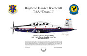 Air Wing Graphics Prints - Raytheon Hawker Beechcraft T-6A Texan II Print by Arthur Eggers