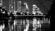 Austin At Night Prints - Reflections of Austin Skyline in Lady Bird Lake at night Print by Jeff Kauffman
