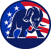 Mascot Digital Art Framed Prints - Republican Elephant Mascot USA Flag Framed Print by Aloysius Patrimonio