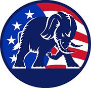 Republican Elephant Mascot Usa Flag Print by Aloysius Patrimonio