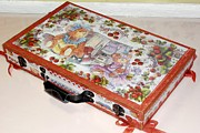 Teddy Bears Mixed Media - Restyling of a wooden suitcase  the rear by Donatella Muggianu