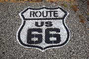 Distance Framed Prints Framed Prints - Route 66 Shield Framed Print by Frank Romeo