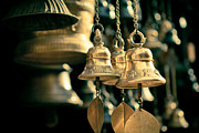 Buddhism Pyrography Metal Prints - Sacrificial bells Metal Print by Raimond Klavins
