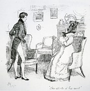 Pride Drawings Posters - Scene from Pride and Prejudice by Jane Austen Poster by Hugh Thomson