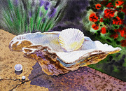 Seashell Fine Art Painting Prints - Sea Shell and Pearls Print by Irina Sztukowski