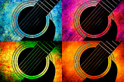 Frets Digital Art Prints - 4 Seasons Guitars 2 Print by Andee Photography