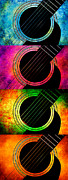 Guitar Stings Prints - 4 Seasons Guitars Vertical Panorama Print by Andee Photography
