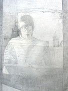 Graphite Portraits Prints - Self Portrait Print by Anita Dale Livaditis