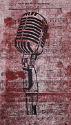 Linocut Posters - Shure 55s on music Poster by William Cauthern