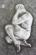 Homoerotic Drawings Metal Prints - Shy Metal Print by Michael Flynt