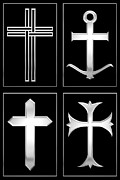 Artist4god Posters - 4 Silver Crosses Poster by Rose Santuci-Sofranko