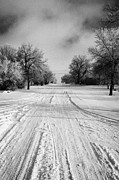 Conditions Posters - snow covered street in small rural farming community village Forget Saskatchewan Canada Poster by Joe Fox