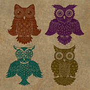 Lino Cut Posters - 4 Sophisticated Owls Colored Poster by Kyle Wood