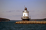 Maine Lighthouses Posters - Spring Point Ledge Lighthouse Poster by Skip Willits