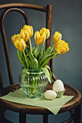 Round Shell Prints - Still Life with Yellow Tulips Print by Nailia Schwarz
