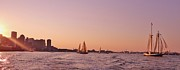 New England Coast Line Prints - Sun Setting Over Boston Series Print by Laura Lee Zanghetti