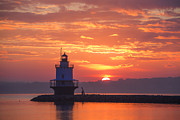 Maine Lighthouse Posters - Sunrise at Spring Point Lighthouse Poster by Diane Diederich