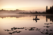 Balance In Life Posters - Sunrise in fog Lake Cassidy with fishermen in small fishing boat Poster by Jim Corwin
