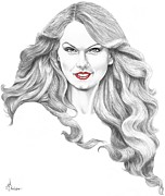 Pencil Drawing Posters - Taylor Swift Poster by Murphy Elliott