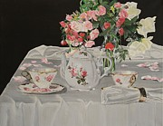 Table Cloth Metal Prints - Tea and Roses Metal Print by Debra Chmelina
