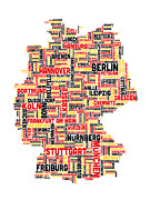 Text Art Art - Text Map of Germany Map by Michael Tompsett