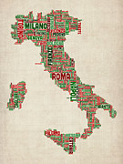 Italy Digital Art - Text Map of Italy Map by Michael Tompsett
