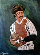 Baseball Uniform Painting Metal Prints - The Captain Metal Print by Barbara Giuliano