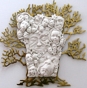 Whimsical Sculpture Metal Prints - The Family Tree Metal Print by Keri Joy Colestock